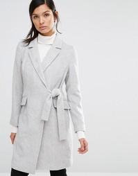 Пальто с запахом и завязкой Neon Rose - Серый