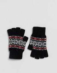 Черные перчатки без пальцев с узором Фэйр‑Айл из овечьей шерсти Glen Lossie - Черный