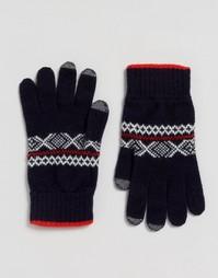 Перчатки из овечьей шерсти с узором Фэйр-Айл Glen Lossie - Темно-синий