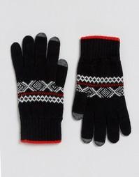 Перчатки из овечьей шерсти с узором Фэйр-Айл Glen Lossie - Черный