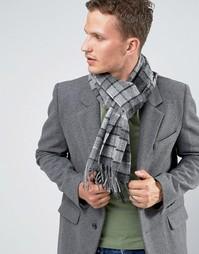 Серый шарф из овечьей шерсти с принтом тартан Glen Lossie - Серый