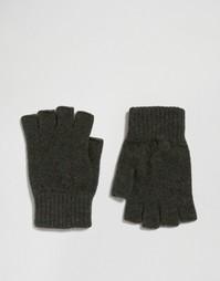 Перчатки без пальцев из овечьей шерсти цвета хаки Glen Lossie - Зеленый