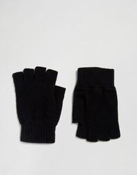 Черные перчатки без пальцев из овечьей шерсти Glen Lossie - Черный