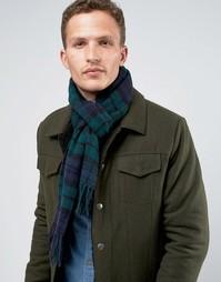 Зеленый шарф в шотландскую клетку из овечьей шерсти Glen Lossie Blackwatch - Зеленый