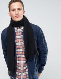 Черный шарф из овечьей шерсти Glen Lossie - Черный