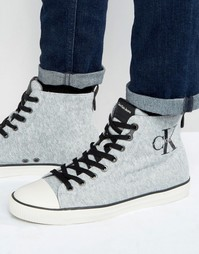 Трикотажные высокие кеды с логотипом Calvin Klein Aron - Серый