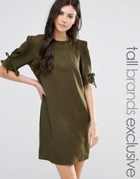 Цельнокройное платье с завязками на рукавах Fashion Union Tall - Зеленый