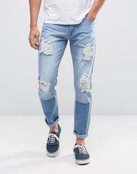 Синие рваные джинсы слим Liquor & Poker - Синий