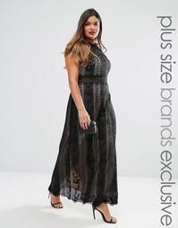 Платье макси с кружевными вставками и короткими рукавами Truly You - Черный