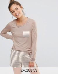 Пижамный лонгслив с карманом и шорты Chelsea Peers - Бежевый