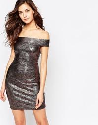 Облегающее платье цвета металлик со спущенными плечами Madam Rage - Золотой