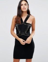 Бандажное платье с декоративной отделкой на бретельках Forever Unique Vera - Черный