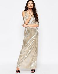 Плиссированное платье макси металлик с открытыми плечами Liquorish - Золотой