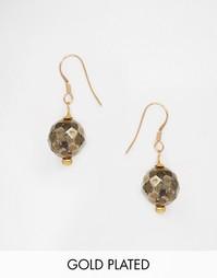 Позолоченные серьги с ограненной подвеской из пирита Mirabelle - Золотой