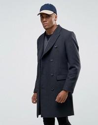 Темно-серое двубортное пальто из смешанной шерсти ASOS - Серый