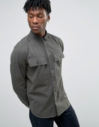 Рубашка цвета хаки с длинными рукавами в стиле милитари ASOS - Зеленый
