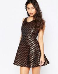 Короткое приталенное платье с жаккардовым узором металлик Madam Rage - Золотой