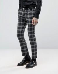 Супероблегающие эластичные брюки в клетку Noose & Monkey - Черный
