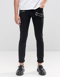 Черные зауженные джинсы с молниями Cheap Monday - Черный
