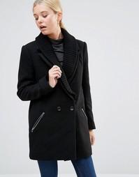 Пальто с воротником в рубчик и молниями See U Soon - Черный