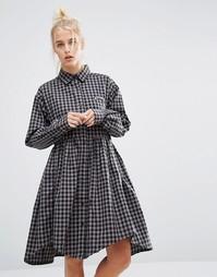 Свободное платье‑рубашка в клеточку с надписью Bored Lazy Oaf - Серый