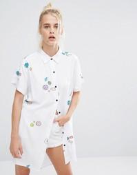 Oversize-рубашка с принтом планет и космоса Lazy Oaf - Белый