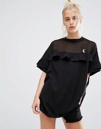 Oversize-футболка с прозрачной вставкой и оборкой Lazy Oaf - Черный