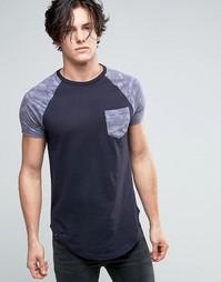 Удлиненная футболка с карманом и контрастными рукавами Le Breve - Рыжий