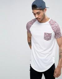 Удлиненная футболка с карманом и контрастными рукавами Le Breve - Розовый