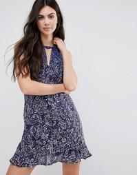 Шелковое платье с оборками на кромке Greylin Jenna - Синий