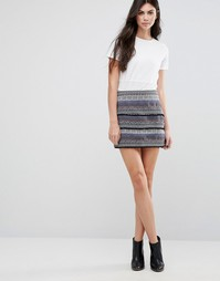 Фактурная юбка Greylin Hina - Синий