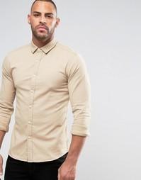 Облегающая джинсовая рубашка цвета кэмел ASOS - Коричневый