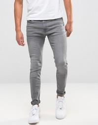 Зауженные серые джинсы с выбеленным эффектом Jack & Jones - Серый