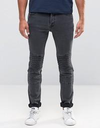 Байкерские джинсы слим Only & Sons - Черный