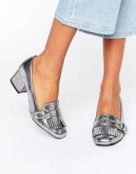 Кожаные лоферы на среднем каблуке с пряжками Carvela Agatha - Серый