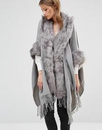Накидка с меховой отделкой Jayley Luxurious - Серый