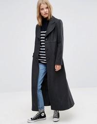 Приталенное пальто макси из шерстяной смеси ASOS - Серый