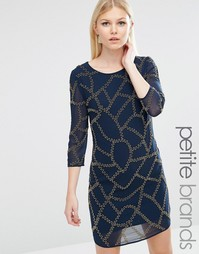 Декорированное цельнокройное платье Maya Petite - Темно-синий