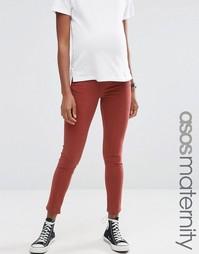 Коричневые зауженные джинсы для беременных ASOS Maternity Ridley - Коричневый