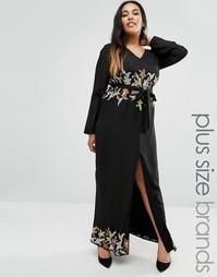 Платье макси с отделкой по краю Lovedrobe Plus - Черный