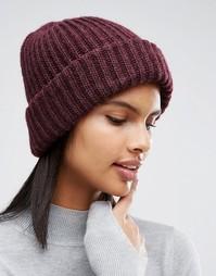 Трикотажная рыбацкая шапка‑бини инжирного цвета Pieces - Красный