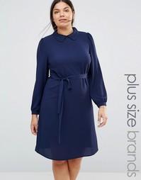 Цельнокройное платье с кружевным воротником Koko Plus - Темно-синий