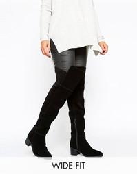 Замшевые сапоги-ботфорты для широкой стопы с острым носком ASOS KALEB - Черный