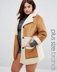 Oversize-пальто из цигейки со вставками Alice & You - Коричневый