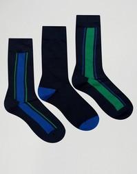 3 пары темно-синих носков с вертикальную полоску Pringle - Темно-синий