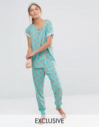 Пижамный комплект с принтом индейки Chelsea Peers Christmas - Синий