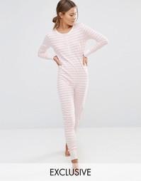 Полосатый трикотажный комбинезон Chelsea Peers - Розовый