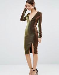 Платье миди цвета металлик с глубоким вырезом и разрезом сбоку Lavish Alice - Черный