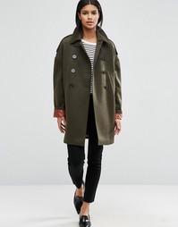 Свободное пальто-бушлат на контрастной подкладке ASOS - Зеленый