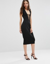 Платье-футляр миди с кружевом Hedonia - Черный